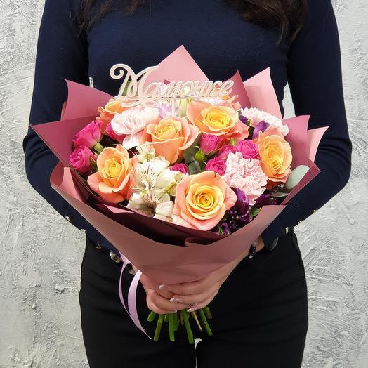 Компактный букетик из роз, хризантемы, альстромерии Моей Родной