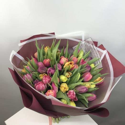 Пионовидные тюльпаны микс: букеты цветов на заказ Flowwow