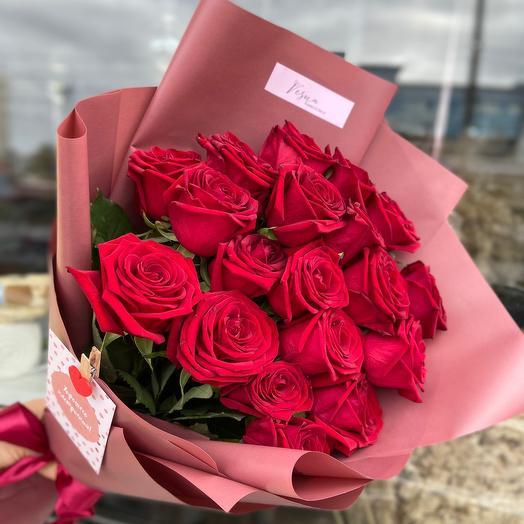 19  роз в упаковке