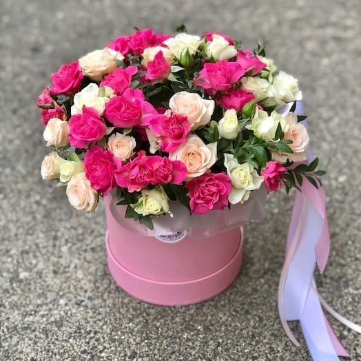 Шляпная коробка цилиндр с кустовой розой