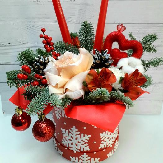 """Цветы в коробке """" Уютный зимний вечер"""""""