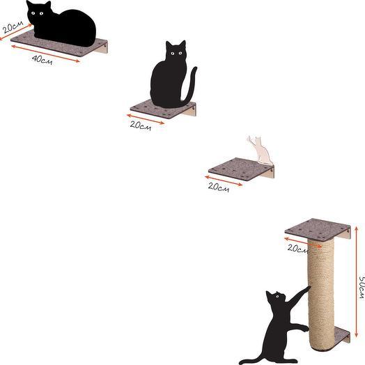 Настенный игровой комплекс для кошек Хвостович 107, сизаль, цвет бежевый