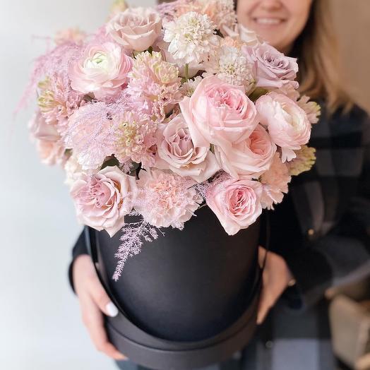 Цветы в коробке Розовое облако