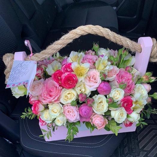Композиция «Ящик с цветами»(Розовый)
