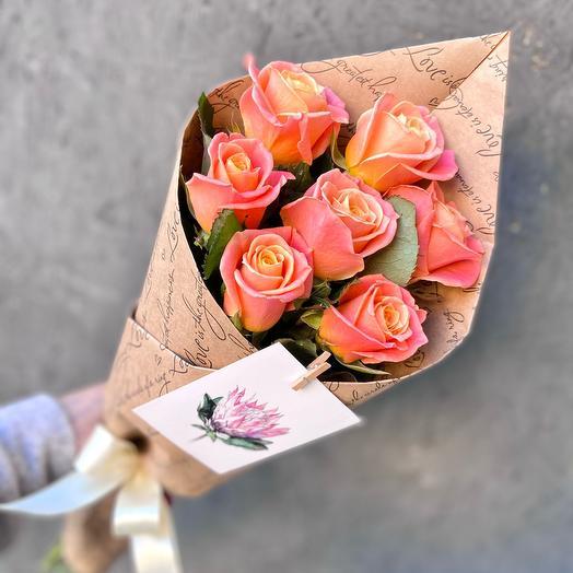 Букет 7 коралловых роз «Мисс Пигги»