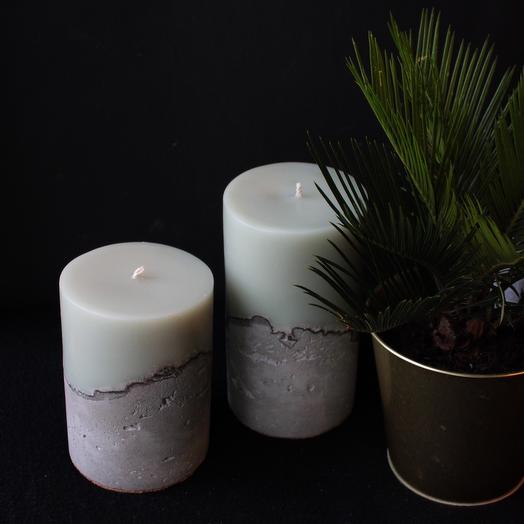 Набор из 2 свечей на бетоне «Шалфей»