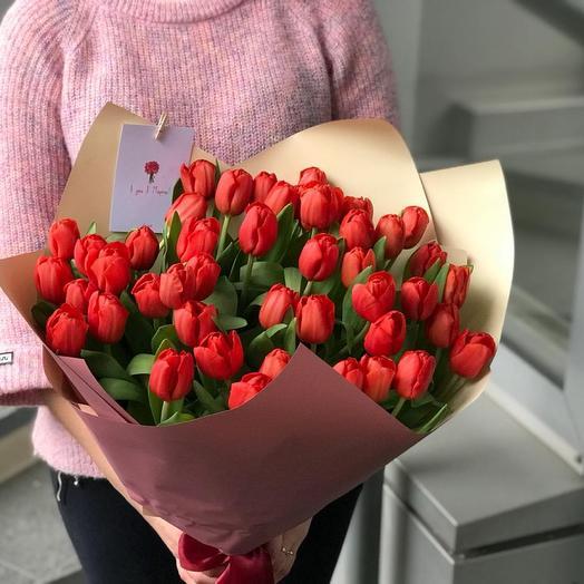 Букет алых тюльпанов из 45 штук