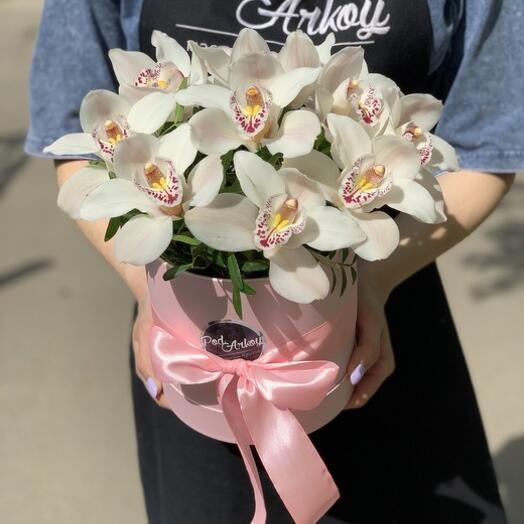 Шляпная коробка с Орхидеями S
