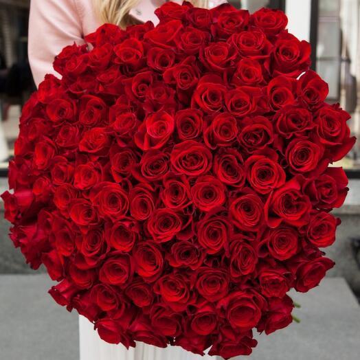 101 красная роза под атласной лентой