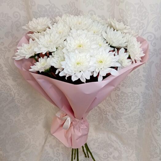 Букет из 7 хризантем кустовых в розовом)
