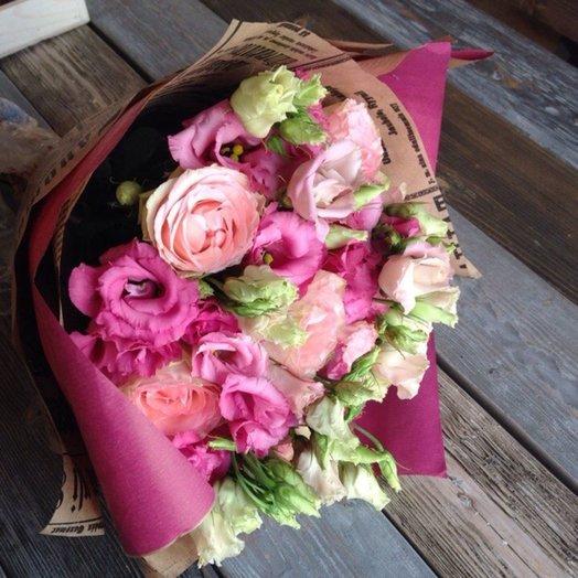 Букет из роз и эустомы: букеты цветов на заказ Flowwow