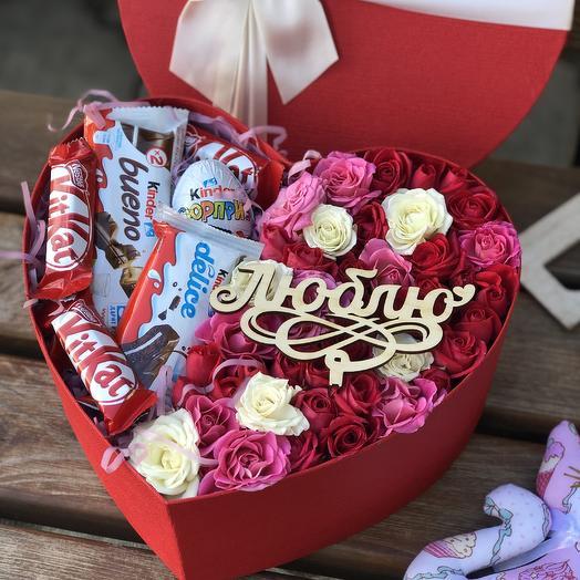 Сердце с киндерами: букеты цветов на заказ Flowwow