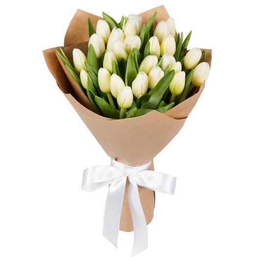 25 белых тюльпанов: букеты цветов на заказ Flowwow