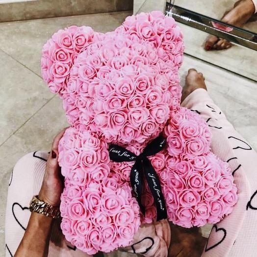 Премиум мишка из 3D роз Розовый: букеты цветов на заказ Flowwow