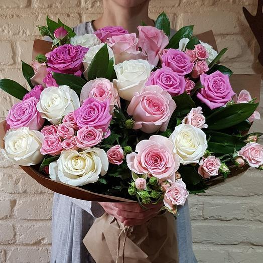 Букет в бело-розовых тонах
