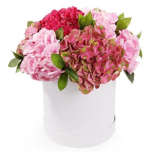 Гортензии в шляпной коробке: букеты цветов на заказ Flowwow
