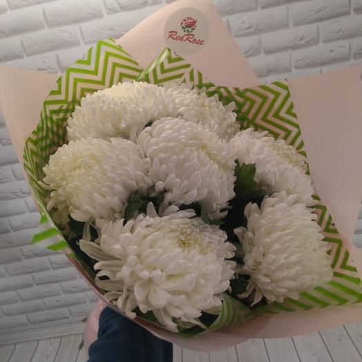 Букет из 7 белых одноголовых хризантем: букеты цветов на заказ Flowwow