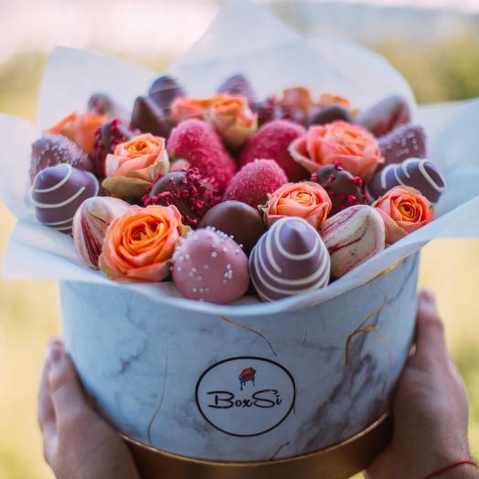 Клубничный букет М: букеты цветов на заказ Flowwow