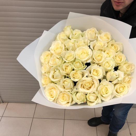Букет из 36 белых голландских роз 80 см: букеты цветов на заказ Flowwow