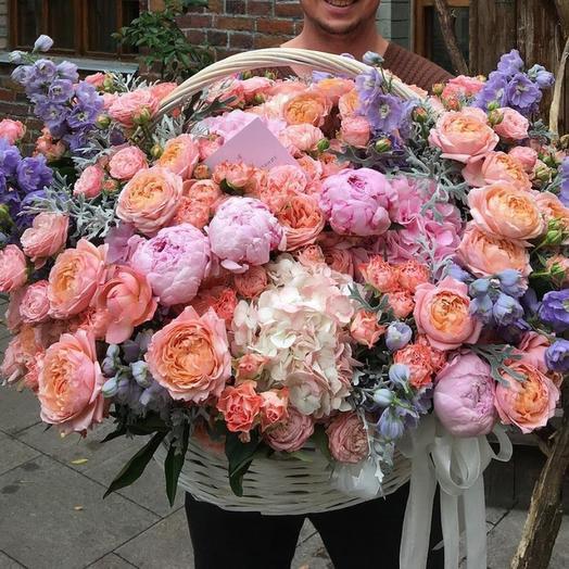 Wow Корзина с пионами: букеты цветов на заказ Flowwow