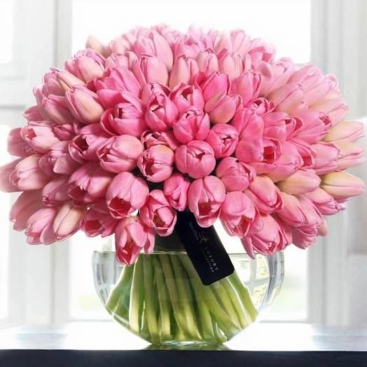 75 розовых тюльпанов: букеты цветов на заказ Flowwow