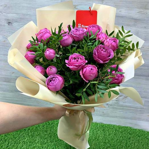 Букет из 9 пионовидных роз Мисти Баблз