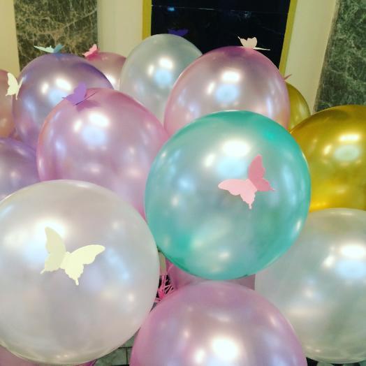 Гелиевые шары с бабочками 10 шт