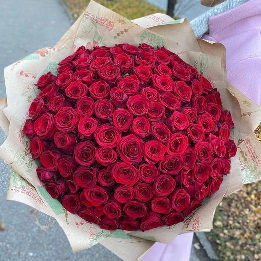 101 роза 60 см красная