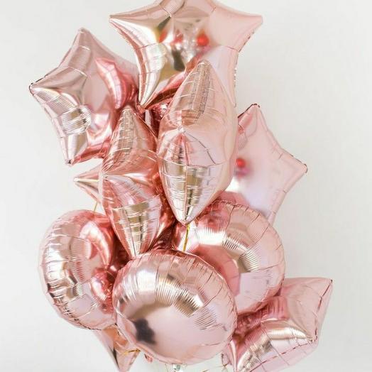 """Связка фольгированных шаров""""Розовое золото"""""""
