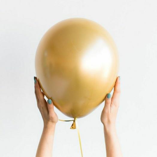 """Воздушный шар латексный""""Золото хром"""""""