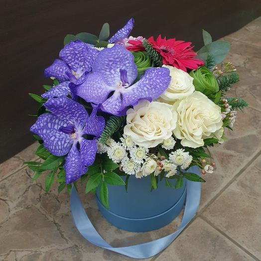 Орхидея Ванда с розами в шляпной коробке