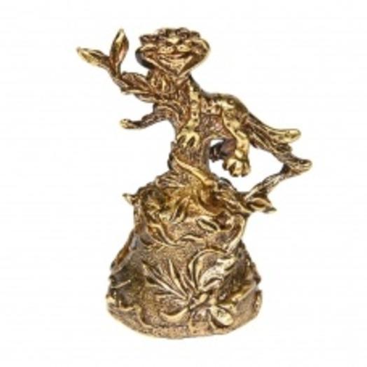 Колокольчик бронзовый Кот на дереве 5 см