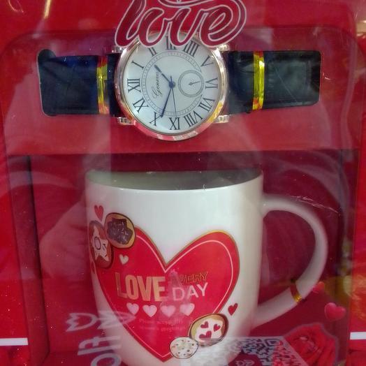 Любимому. Набор чашка и часы для него