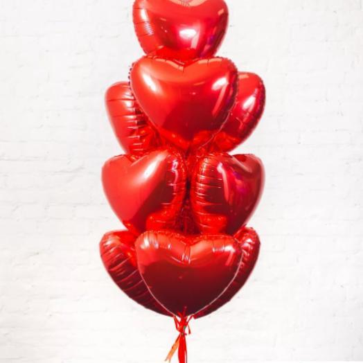 Связка из фольгированных сердец 46см 10 шт