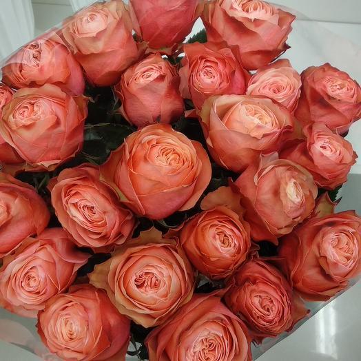 """Монобукет из 23 розы сорта """"Кахала"""" 70 см"""