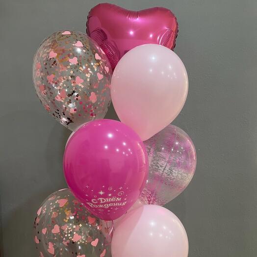 Розовый сет из 9 шаров
