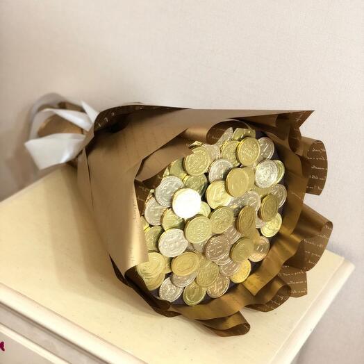 Букет из шоколадных монет