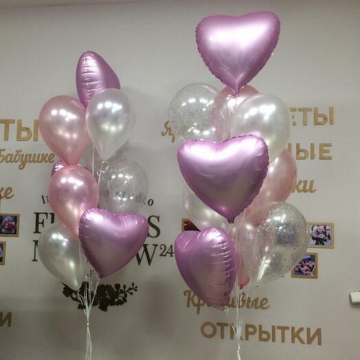 Розовое настроение- 2 стойки с шарами