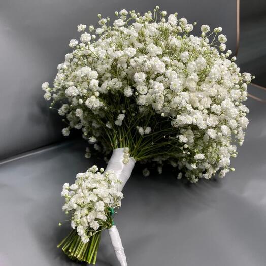 Свадебный букет из гипсофил