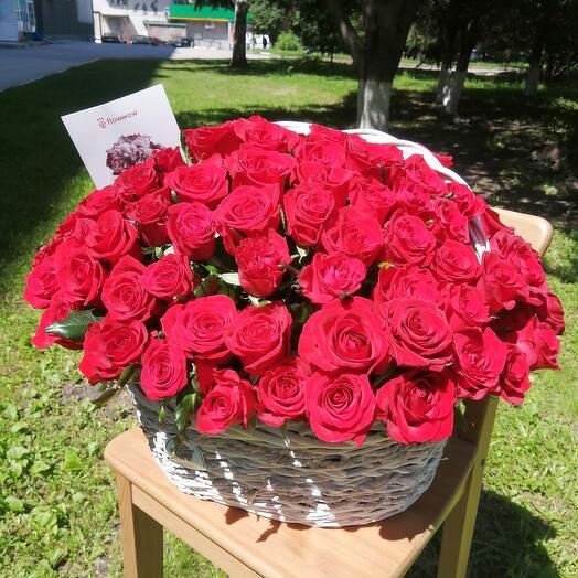 Корзина с красной 101 розой