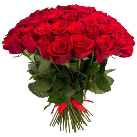 Букет из 21 крупных красных эквадорских роз 50 см