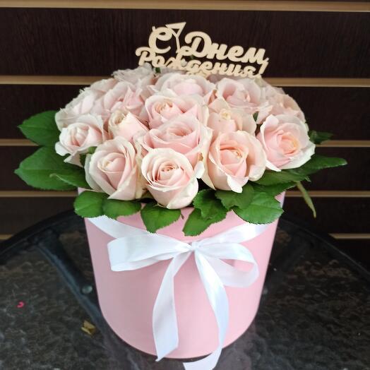 Цветы в коробке Крем-брюлле