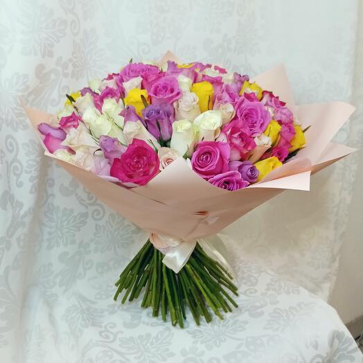 Букет из 101 розы нежный микс