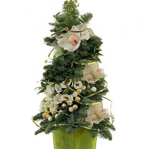 Новогодняя композиция Зимние грезы: букеты цветов на заказ Flowwow