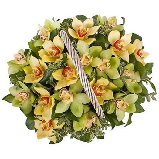Корзина с орхидеями: букеты цветов на заказ Flowwow