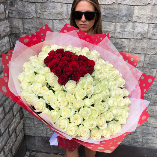 101 роза с сердцем: букеты цветов на заказ Flowwow