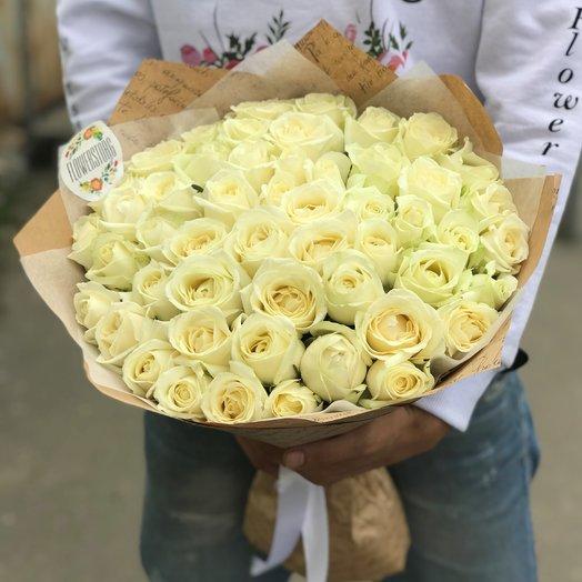 Розы. Букет из 51 белой розы. N202
