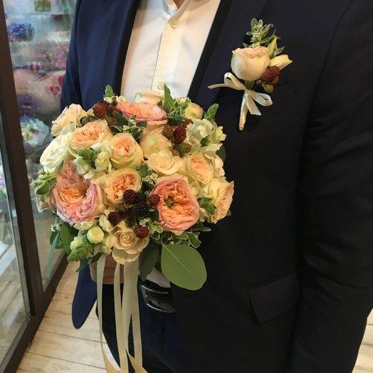 Букет невесты + бутоньерка(в подарок): букеты цветов на заказ Flowwow