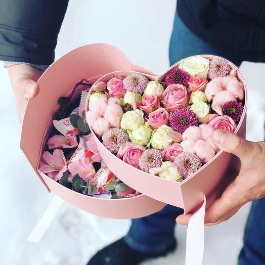 Сердце сюрприз: букеты цветов на заказ Flowwow
