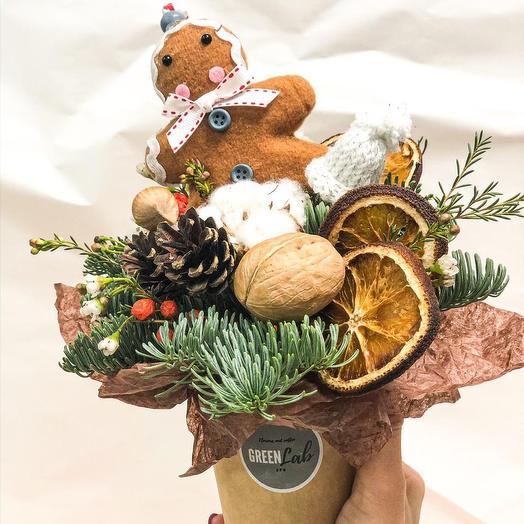 Новогодняя композиция в стакане: букеты цветов на заказ Flowwow
